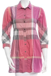 Burberry Nova Check Monogram Plaid Longsleeve Exploded Check Top Red, Black, Pink