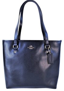 Coach Leather Tote in Midnight Blue