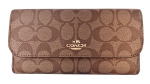 Coach Signature PVC Checkbook Wallet Clutch NWT Khaki Saddle Brown F52681
