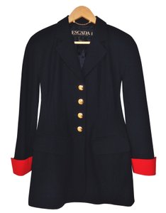 Escada Gold Gold Hardware European Wool Navy Blue Blazer