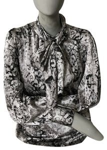 Parker Snake Print Blouse Top black and gray
