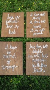 Love Is Patient Wooden Signs