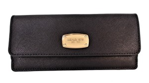 Michael Kors Travel Saffiano Leather Flat Wallet Clutch Card Case NWT Black