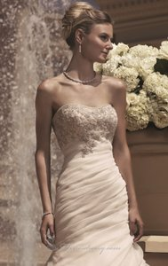 Casablanca Champagne Organza 2107 Feminine Wedding Dress Size 14 (L)