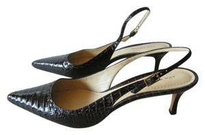 Ann Taylor Crocodile Embossed Leather Slingback Brown/Croc Pumps