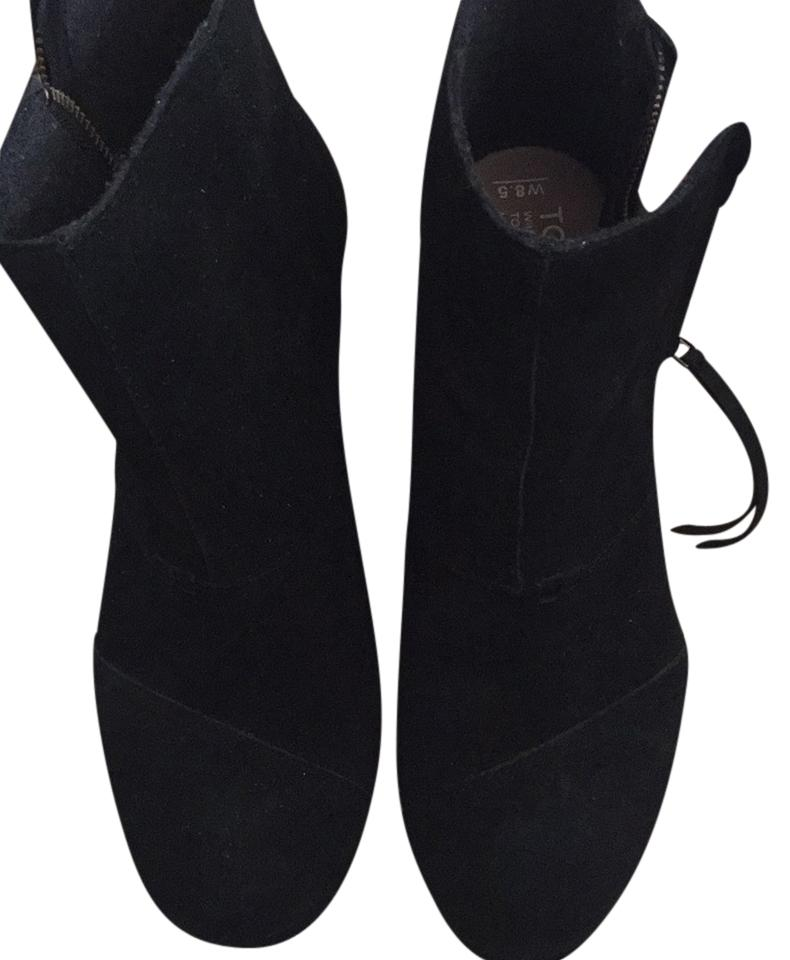 11dd376bdfc TOMS Black Suede Desert Wedge High Women Round Toe Ankle Boots Booties