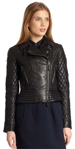 Burberry Leather Quilted Moto Biker Leather Jacket