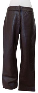 Vakko Leather Lambskin Flat Front Relaxed Pants Brown