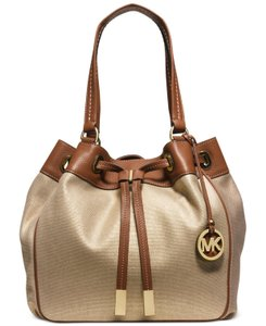 Michael Kors Marina Canvas Tote in Gold/brown