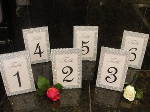 6 Silver Tone Bling Rhinestone Diamond Mesh Table Number Frame / Photo 4