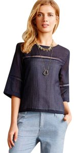 Anthropologie Open Work Cut Outs Hd In Paris Top NWT Blue