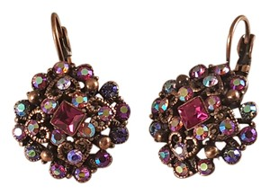 Joan Rivers Joan River Rose Gold Plated Pink Crystal Earrings