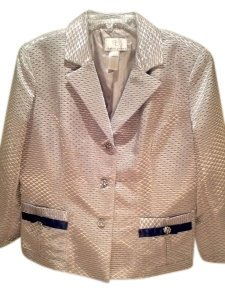 Sandra Darren Special Occasion Silver/Taupe with Black Accents Blazer