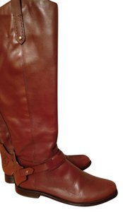 Tory Burch Riding Logo Knee High Brown Boots