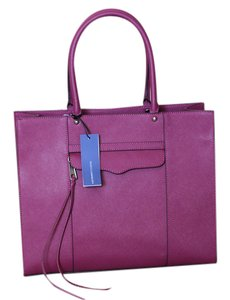 Rebecca Minkoff Leather Silver Hardware Roomy Carryall Structured Tote in Magenta (purplish red)