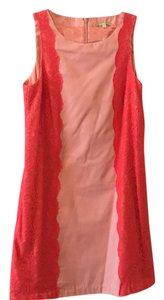 Gianni Bini short dress Peach with orange/pink lace boarder on Tradesy