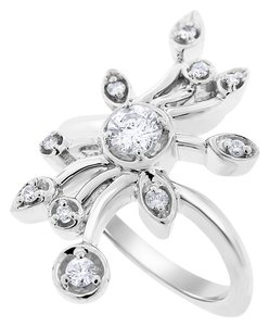 0.50 Carat Natural Diamond Flower Cocktail Ring Euro Shank 14k White