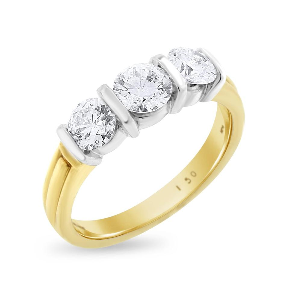 Other 1 50 Carat Natural Diamond Three Stone Bar Setting Engagement Ring