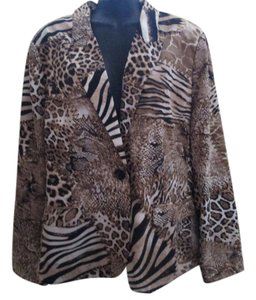 Chico's Abstract Animal Print Brown Multicolored Blazer