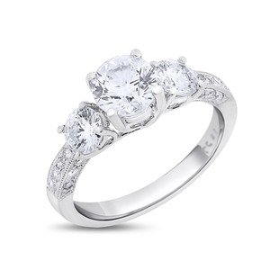 Other 2.01 Carat Natural Diamond Milgrain Engagement Ring Three Stone Solid