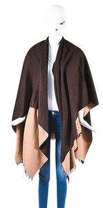 Hermès Hermes Brown Tan Cashmere Wool Dotted Evelyne H Wrap Shawl