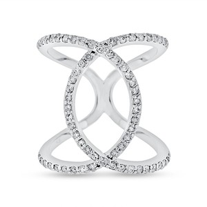 0.74 CT Natural Diamond Double Circle Loop Ring in Solid 14k White