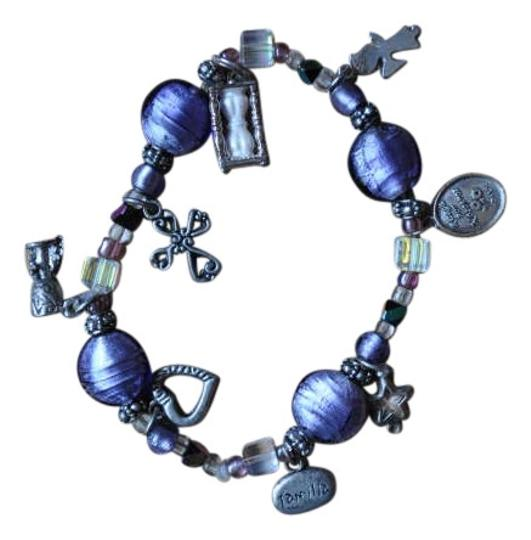 Preload https://item1.tradesy.com/images/purple-and-silver-religious-charm-bracelet-204015-0-0.jpg?width=440&height=440