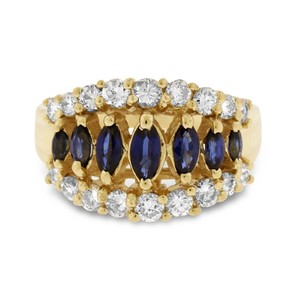 Other 1.85 CT Natural Diamond & Sapphire Fashion Ring in Solid 14k Yellow