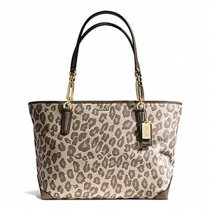 Coach Ocelot Jacquard Tote in Brown, Light Gold & Chestnut
