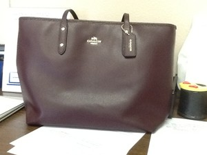 Coach Satchel Handbag Tote in Brown/ burgendy