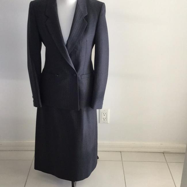 Item - Blue/Gray with Pale White Pin Stripes . Womens Business Skirt Suit Size 6 (S)