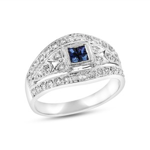 Other 0.50 CT Natural Diamond & Sapphire Filigree Dainty Ring In Solid 18k