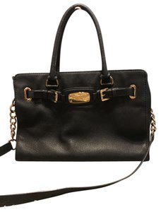 Michael Kors Leather Hardware Satchel in Black with Gold Chains