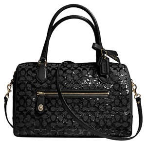 Coach Leather Poppy Signature Sequin Spring Satchel in Black, Gold