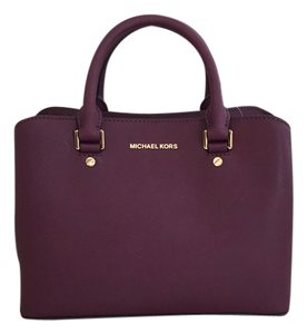 MICHAEL Michael Kors Mmk Saffiano Black Satchel in Plum