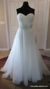 Essense of Australia Ivory/Silver Tulle & Satin D1652 Feminine Wedding Dress Size 10 (M)