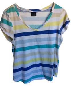 Faded Glory Green Blue Gray T Shirt White striped