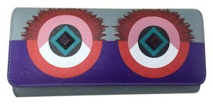 Fendi Bugs Elite Calfskin Leather Continental Wallet