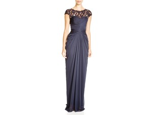 Adrianna Papell Navy Lace Yoke Drape Dress