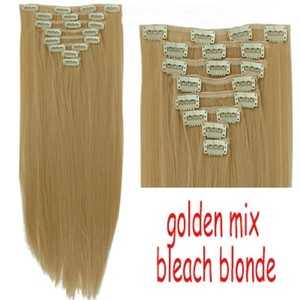 8pc Clip In Full Head Hair Extensions Golden Blonde Free Shipping