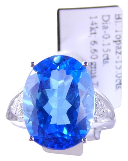 Custom-Made NATURAL OVAL BLUE TOPAZ w/PAVE' DIAMOND ACCENT