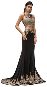 Black Floral Lace Beads Embellished Two Pieces Long Formal Dress