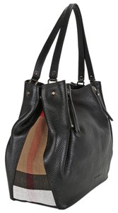 Burberry Snap Closure Double Handles Leather Tote in Black