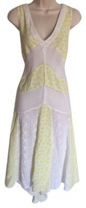 Yellow & White Maxi Dress by Anthropologie Lace