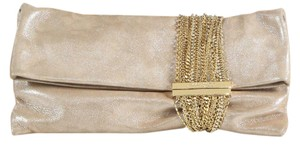 Jimmy Choo Chandra Suede Gold Clutch