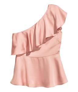H&M Ruffle Off Shoulder Top Pink