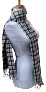 Amicale Cashmere AMICALE GRAY CHECK 100% CASHMERE SCARF