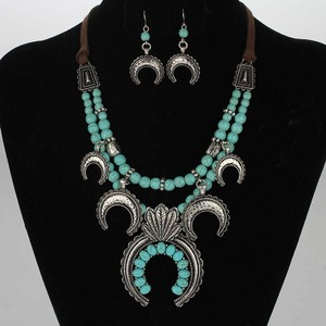 Brown/Silver/Turquoise Bogo Free Double Strand Squash Blossom Free Shipping Jewelry Set