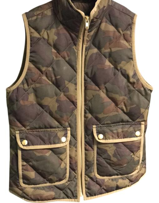 Item - Camo - Brown Green Plum with Olive Trim and Gold Zipper Quilted Down Vest Size 2 (XS)