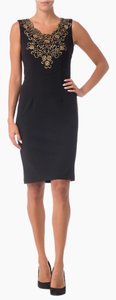 Joseph Ribkoff Fitted Sleeveless Embroidery Embroidered Dress